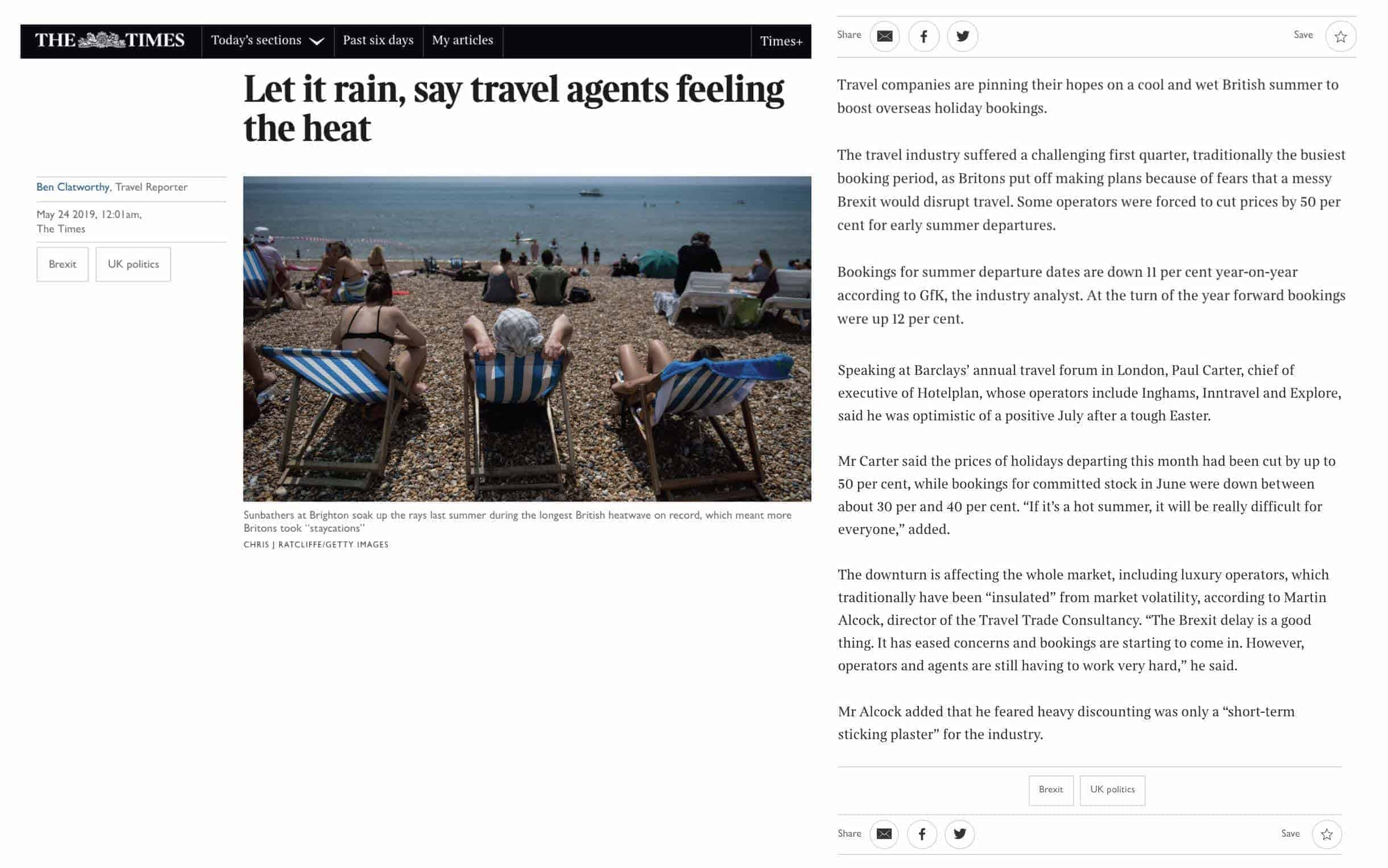 In the news: Travel Trade Consultancy featured in The Times